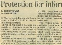Protection for informers on company crime<br />April 2000