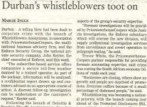 Durban's whistleblowers toot on Business Report<br />April 2002