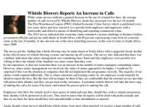 Whistle Blowers Reports An Increase in Calls 26 March 2014