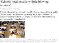Schools need outside whistle blowing services 2 JULY 2015