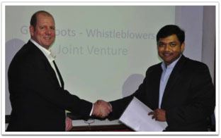 Reg Horne and Christopher Raju sealing the partnership for Whistle Blowers in India